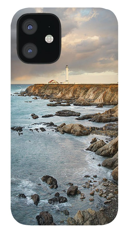 Headland IPhone 12 Case featuring the photograph Point Arena Headland And Lighthouse by Kjschoen
