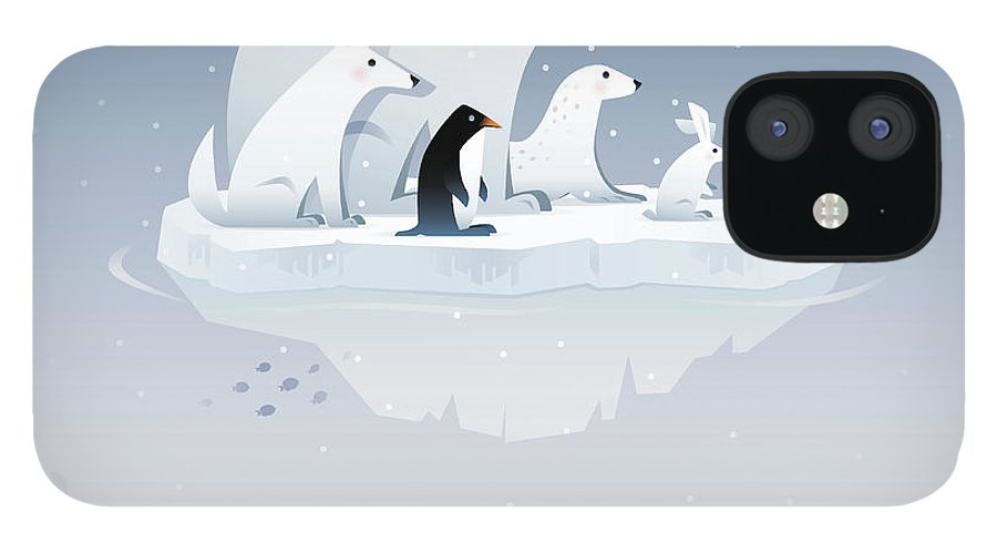Arctic Fox iPhone 12 Case featuring the digital art Polar Bear And Friends by Id-work