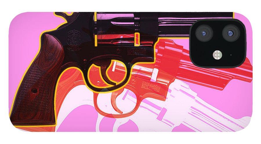 Digital IPhone 12 Case featuring the digital art POP Handgun by Gary Grayson