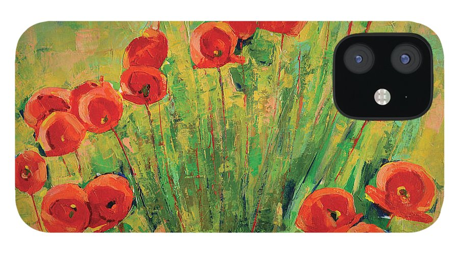 Poppies IPhone 12 Case featuring the painting Poppies by Iliyan Bozhanov