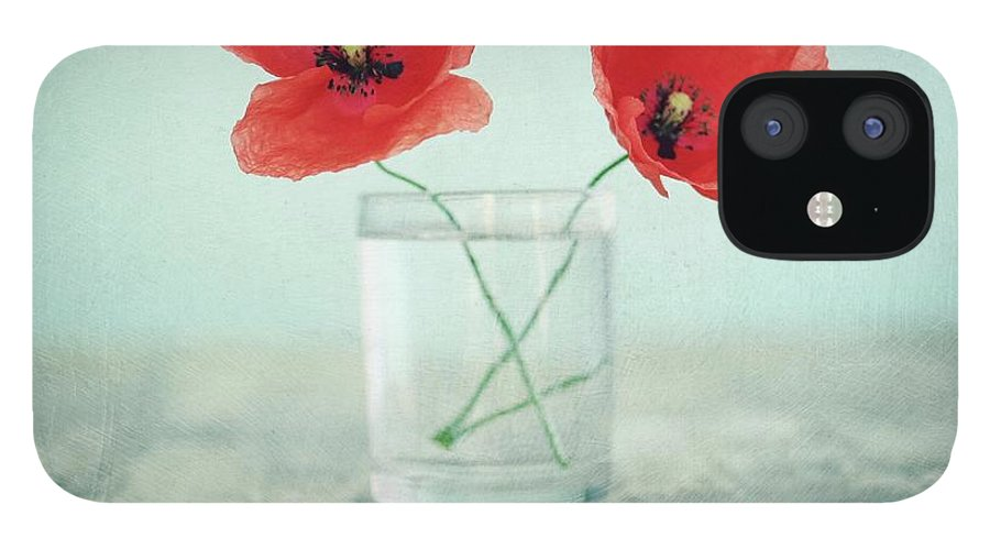 Bulgaria IPhone 12 Case featuring the photograph Poppies In A Glass, Still Life by By Julie Mcinnes