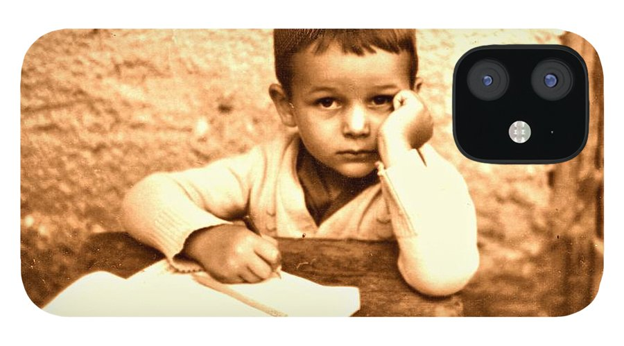 Photography IPhone 12 Case featuring the photograph Portrait of the Artist as a Young Boy by ITI Ion Vincent Danu