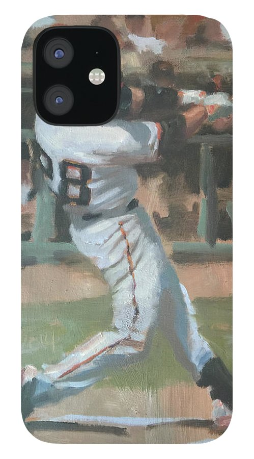 Buster Posey IPhone 12 Case featuring the painting Posey Shot by Darren Kerr