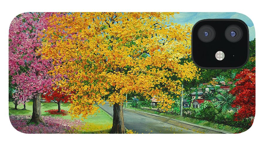 Poui Trees IPhone 12 Case featuring the painting Poui In Diego by Karin Dawn Kelshall- Best
