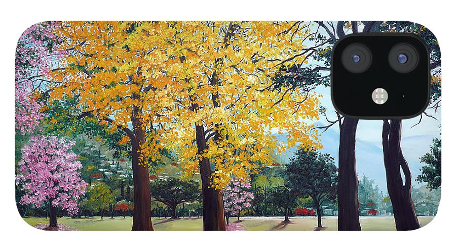 Tree Painting Landscape Painting Caribbean Painting Poui Tree Yellow Blossoms Trinidad Queens Park Savannah Port Of Spain Trinidad And Tobago Painting Savannah Tropical Painting IPhone 12 Case featuring the painting Poui Trees in the Savannah by Karin Dawn Kelshall- Best