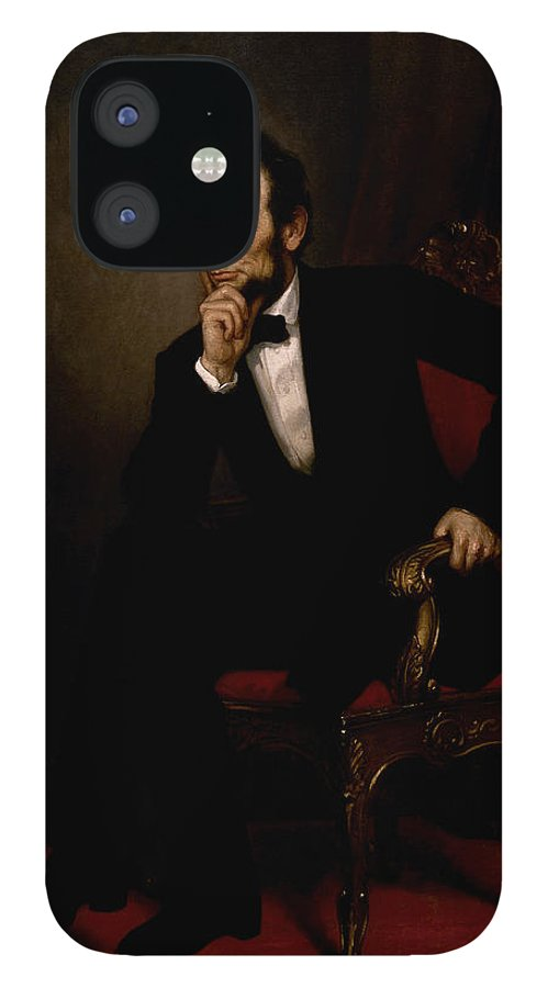 Abraham Lincoln IPhone 12 Case featuring the painting President Lincoln by War Is Hell Store