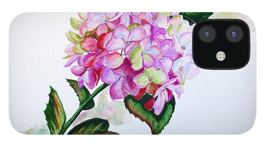 Hydrangea Painting Floral Painting Flower Pink Hydrangea Painting Botanical Painting Flower Painting Botanical Painting Greeting Card Painting Painting IPhone 12 Case featuring the painting Pretty In Pink by Karin Dawn Kelshall- Best
