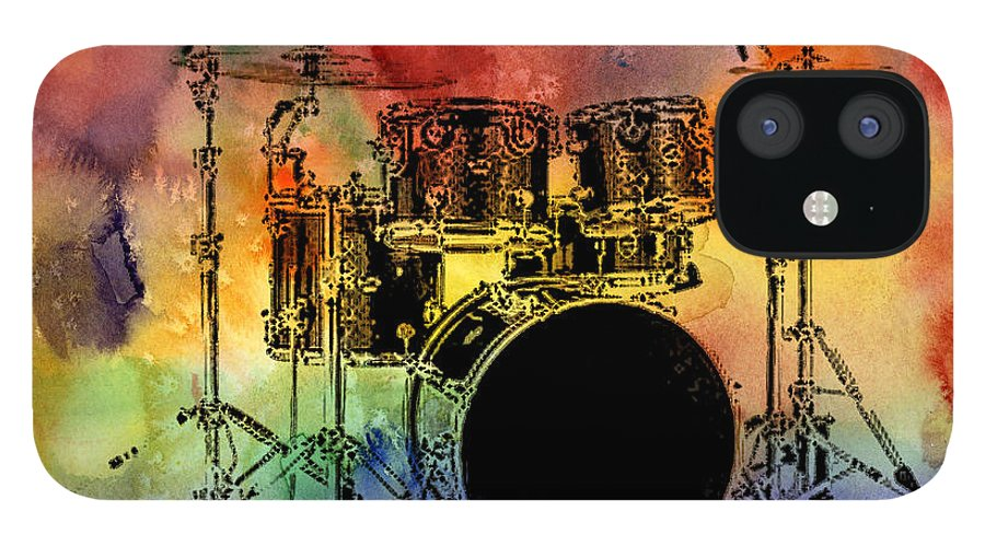 Drums IPhone 12 Case featuring the photograph Psychedelic Drum Set by Athena Mckinzie