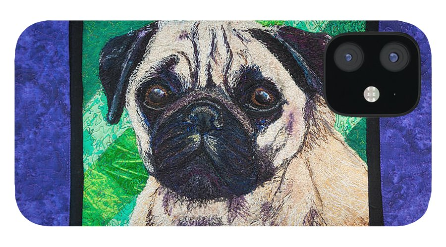 Dog IPhone 12 Case featuring the tapestry - textile Pug by Dolores Fegan