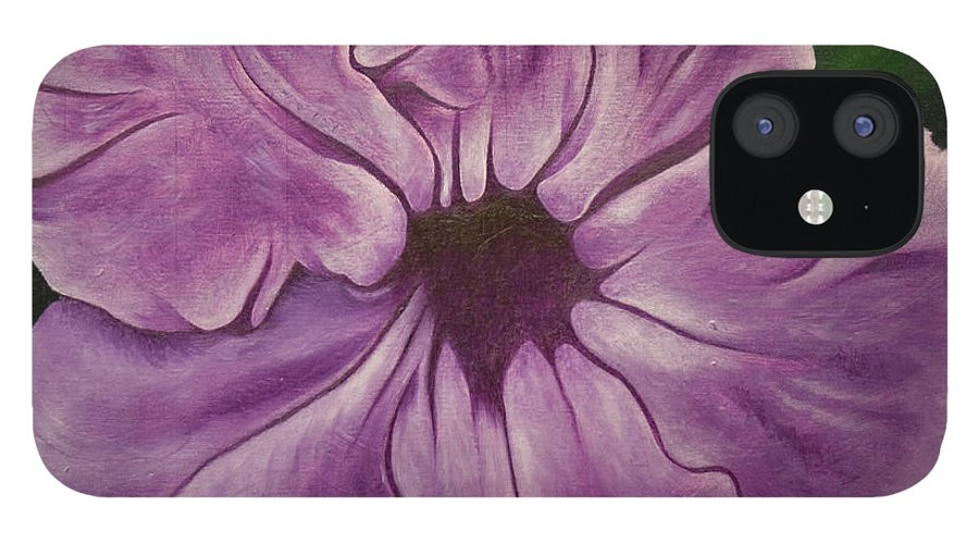 Observational Art IPhone 12 Case featuring the painting Purple Floral #1 by Stephen J DiRienzo