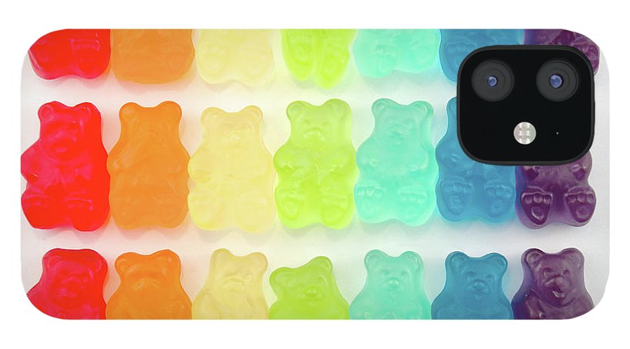 Order iPhone 12 Case featuring the photograph Rainbow Jelly Bear Candy by Melissa Ross