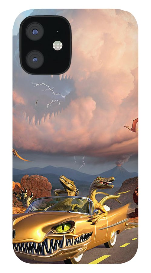 Dinosaurs IPhone 12 Case featuring the digital art Rapt Patrol by Jerry LoFaro