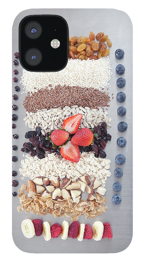 Nut IPhone 12 Case featuring the photograph Raw Nuts, Fruit And Grains by Laurie Castelli