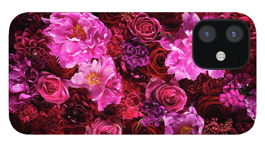 Tranquility IPhone 12 Case featuring the photograph Red And Pink Cut Flowers, Close Up by Jonathan Knowles