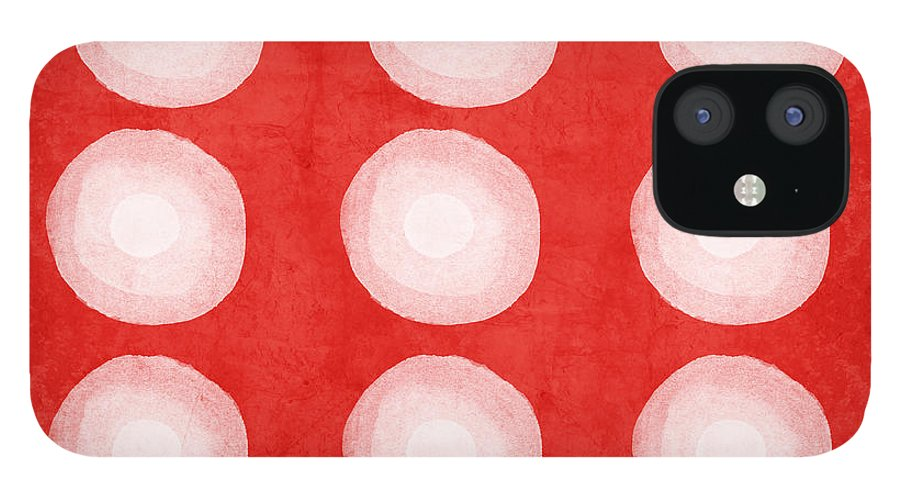 Shibori IPhone 12 Case featuring the painting Red and White Shibori Circles by Linda Woods
