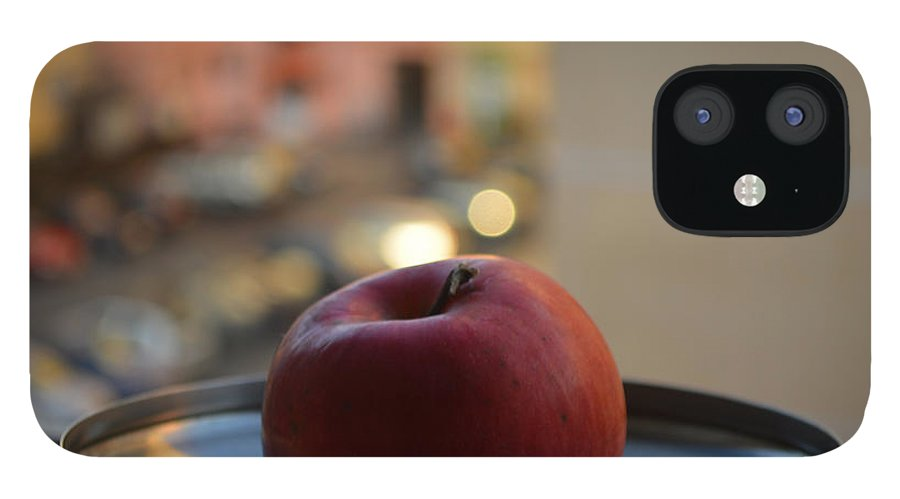Antique IPhone 12 Case featuring the photograph Red apple on a tray by Adrian Bud