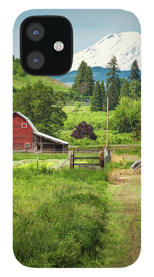 Scenics IPhone 12 Case featuring the photograph Red Barn Green Farmland White Mountain by Fotovoyager