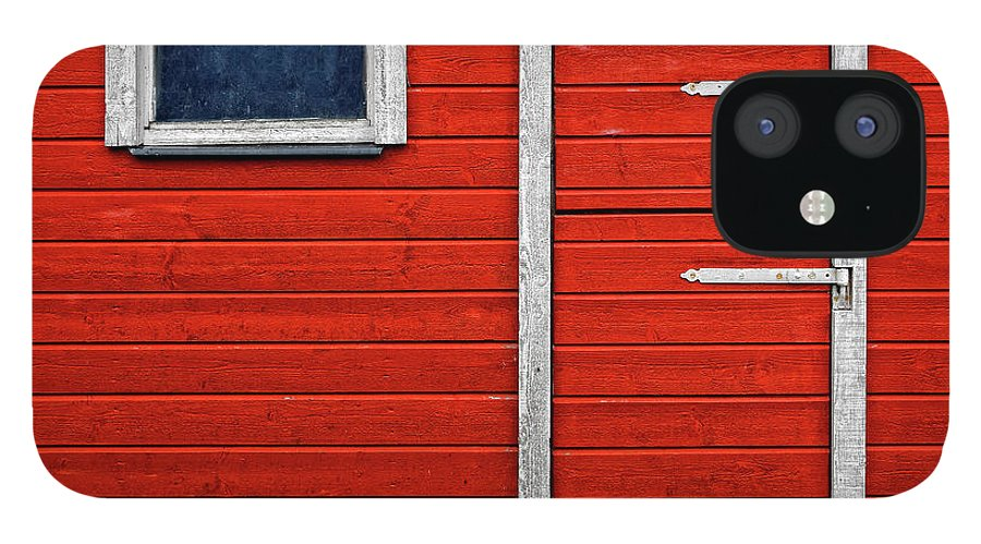 Built Structure IPhone 12 Case featuring the photograph Red Door And Window With White Frames - by Makasu