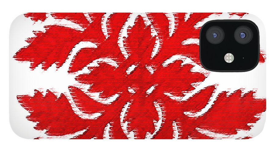 Hawaii Iphone Cases IPhone 12 Case featuring the digital art Red Hibiscus 2 by James Temple