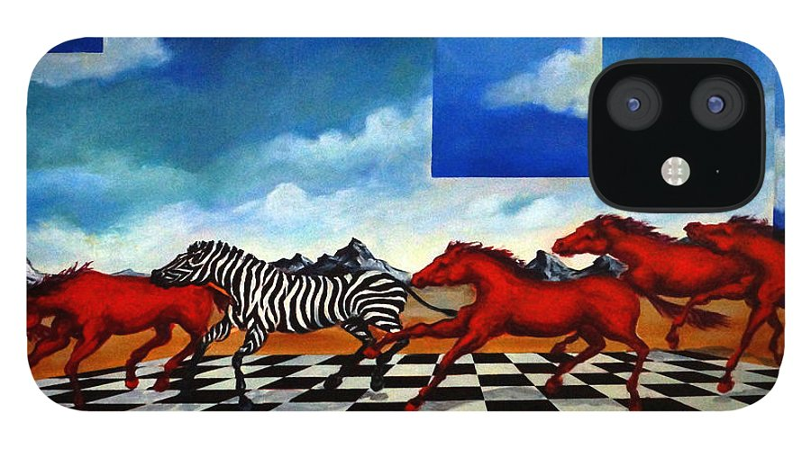 Surreal Landscape IPhone 12 Case featuring the painting Red Horses with Zebra by Valerie Vescovi