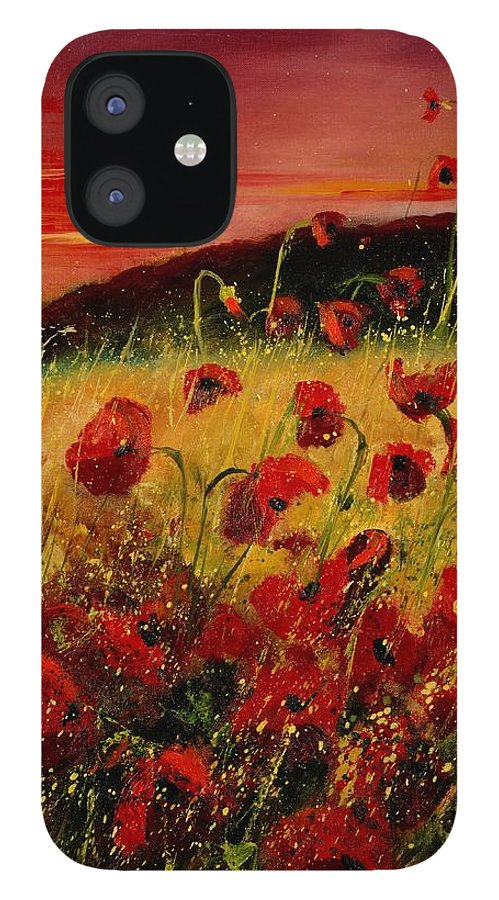 Poppies IPhone 12 Case featuring the painting Red poppies and sunset by Pol Ledent