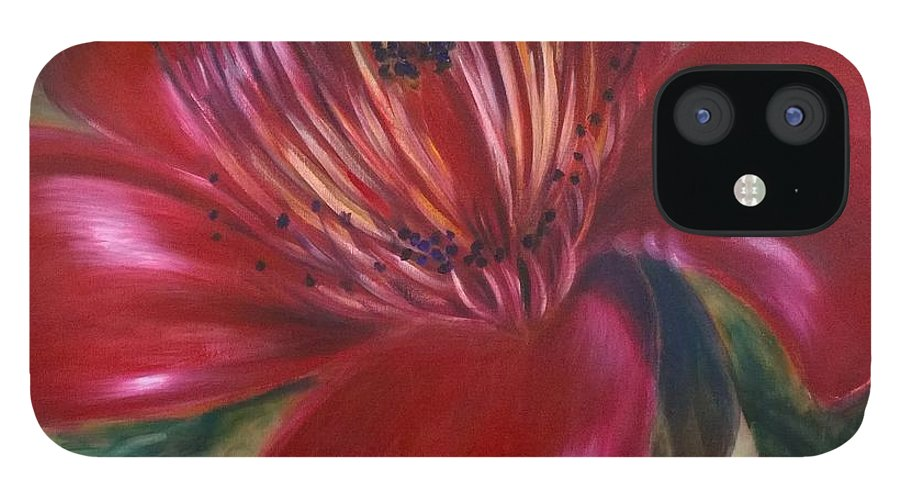 Flower IPhone 12 Case featuring the painting Red Silk Cotten Bombex by Larry Palmer