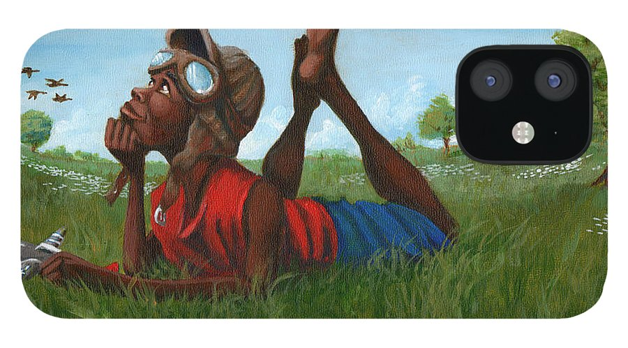 Tuskegee IPhone 12 Case featuring the painting Red Tail Dreamer by Jerome White