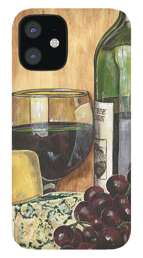 Red Wine IPhone 12 Case featuring the painting Red Wine and Cheese by Debbie DeWitt