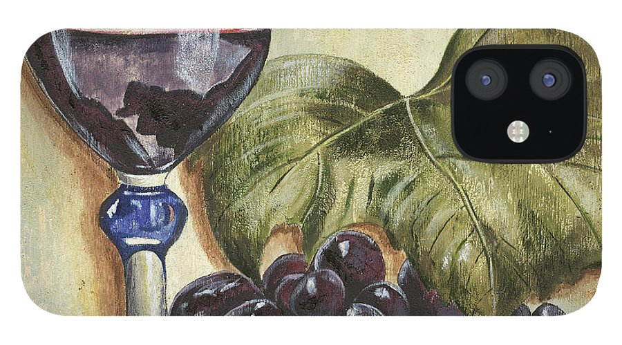 Wine IPhone 12 Case featuring the painting Red Wine And Grape Leaf by Debbie DeWitt