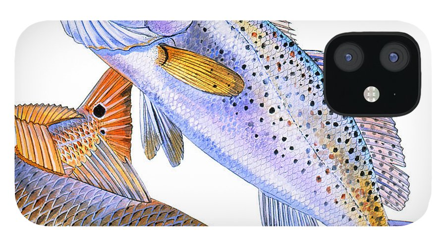 Trout IPhone 12 Case featuring the painting Redfish Trout by Carey Chen