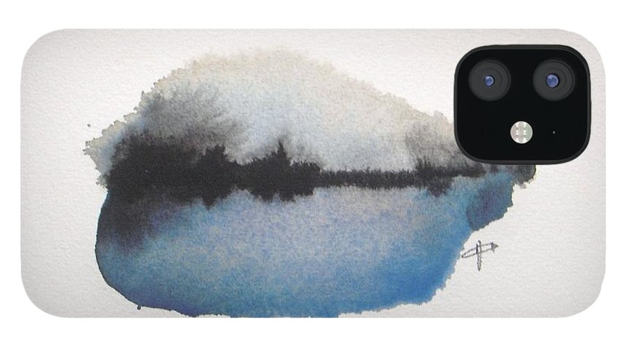 Abstract IPhone 12 Case featuring the painting Reflection in the lake by Vesna Antic