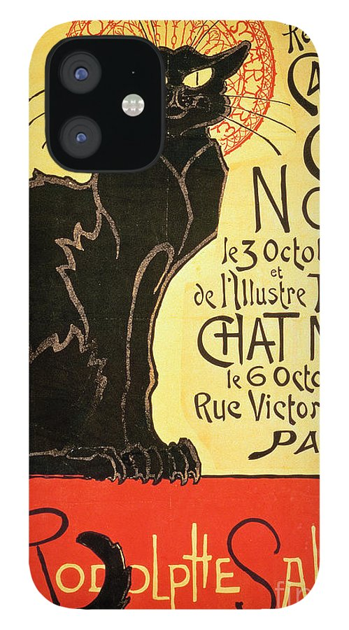 Paris IPhone 12 Case featuring the painting Reopening of the Chat Noir Cabaret by Theophile Alexandre Steinlen