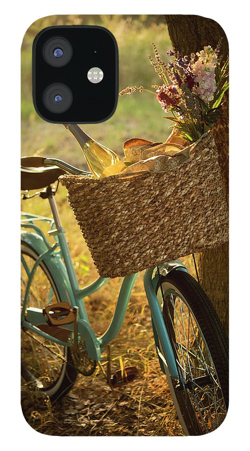 Grass IPhone 12 Case featuring the photograph Retro Bicycle With Wine In Picnic by Nightanddayimages