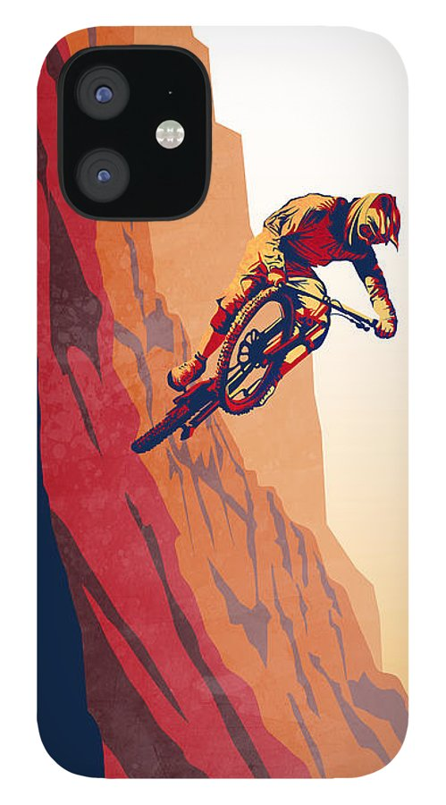 Retro Mountain Bike IPhone 12 Case featuring the painting Retro cycling fine art poster Good to the Last Drop by Sassan Filsoof