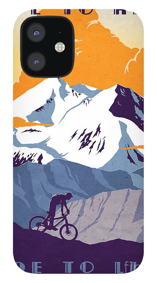 retro Cycling Poster IPhone 12 Case featuring the painting retro cycling poster Live to Ride Ride to Live by Sassan Filsoof