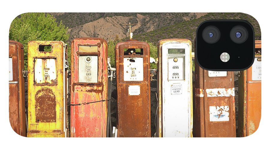 Home Decor IPhone 12 Case featuring the photograph Retro Gas Pumps In Outdoor Museum Nm by Helovi
