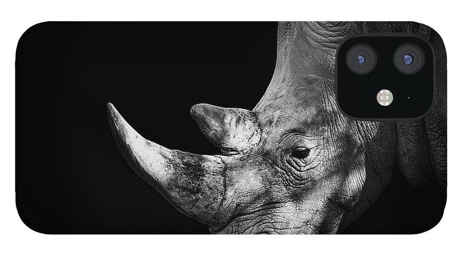 Horned IPhone 12 Case featuring the photograph Rhinoceros by Malcolm Macgregor