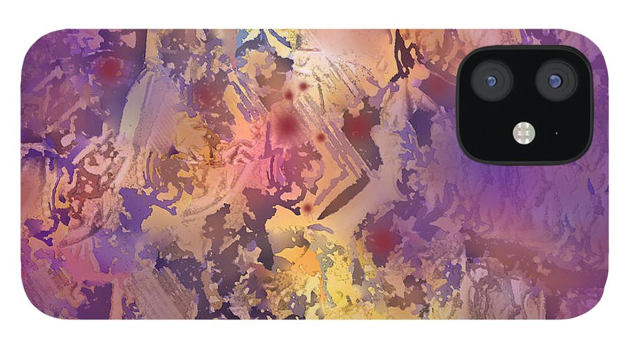 Abstract IPhone 12 Case featuring the digital art Rhumba by Ian MacDonald