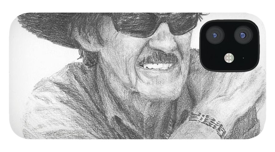 <a Href=http://miketheuer.com Target =_blank>www.miketheuer.com</a> Richard Petty Pencil Portrait IPhone 12 Case featuring the drawing Richard Petty Pencil Portrait by Mike Theuer
