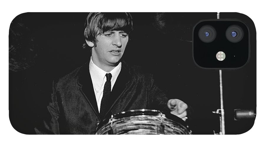 Beatles IPhone 12 Case featuring the photograph Ringo Starr, Beatles Concert, 1964 by Larry Mulvehill