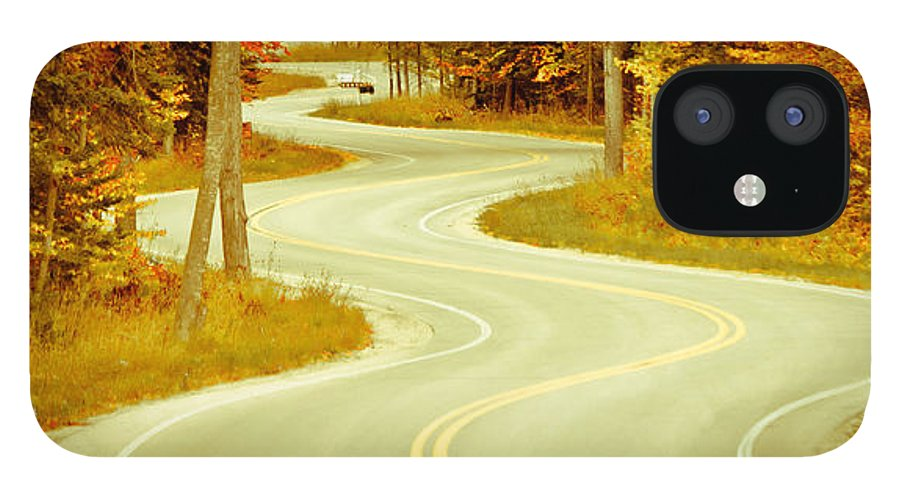 Door County IPhone 12 Case featuring the photograph Road Bending Through The Trees by Ever-Curious Photography