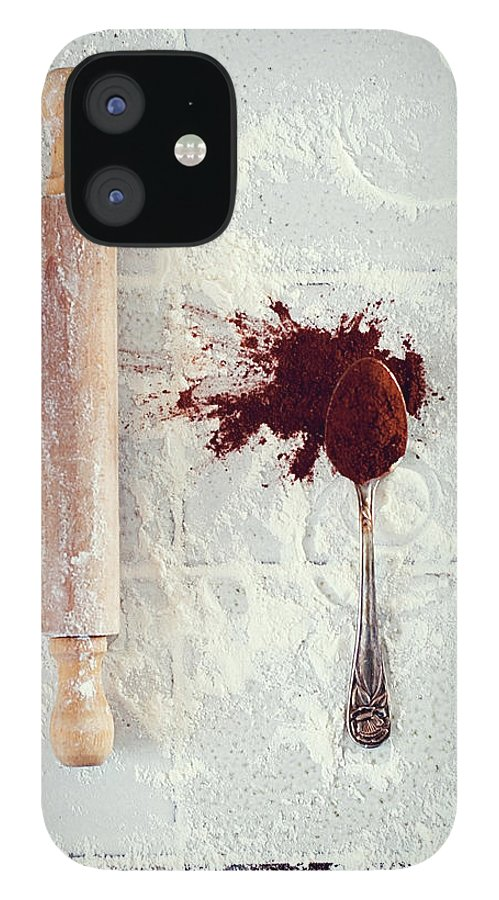 Rolling Pin IPhone 12 Case featuring the photograph Rolling Pin, Teaspoon, Flour And Cocoa by One Girl In The Kitchen