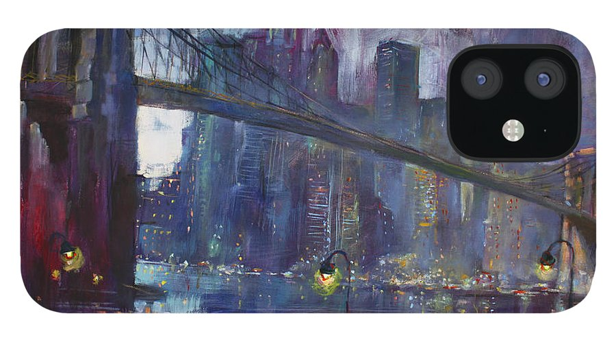 Brooklyn Bridge IPhone 12 Case featuring the painting Romance by East River NYC by Ylli Haruni