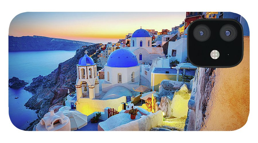 Greek Culture IPhone 12 Case featuring the photograph Romantic Travel Destination Oia by Mbbirdy