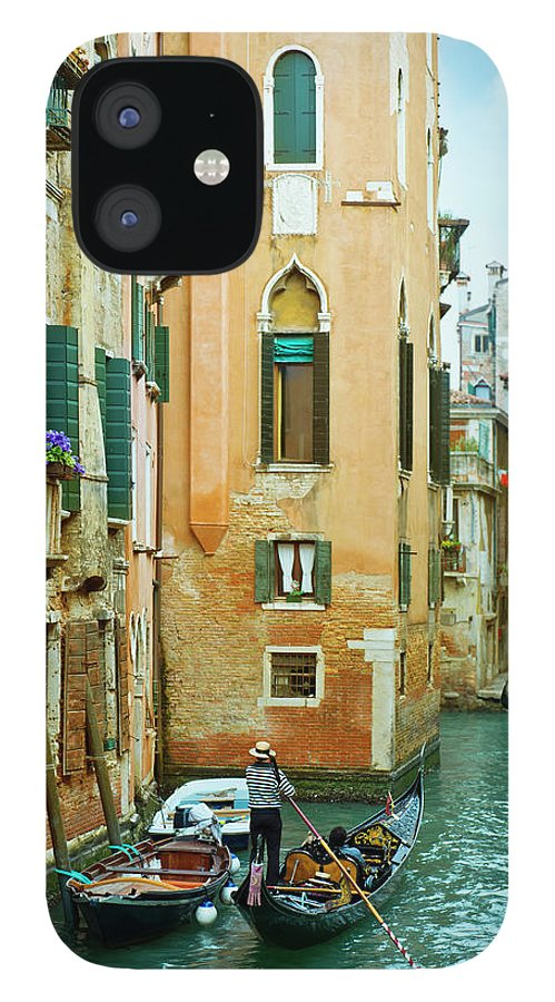 Heterosexual Couple IPhone 12 Case featuring the photograph Romantic Venice Views From Gondola by Caracterdesign
