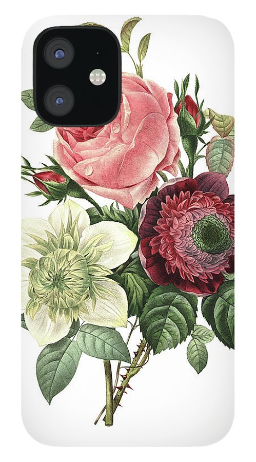 White Background IPhone 12 Case featuring the digital art Rose, Anemone And Clematis | Redoute by Nicoolay