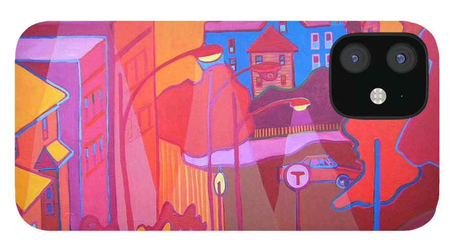 Cityscape IPhone 12 Case featuring the painting Roslindale Never Looked so Red by Debra Bretton Robinson