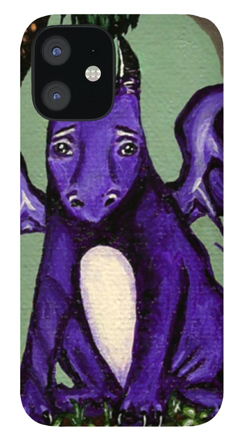 Dragon IPhone 12 Case featuring the painting Royal Amethyst Dragon Pup by Bronwen Skye