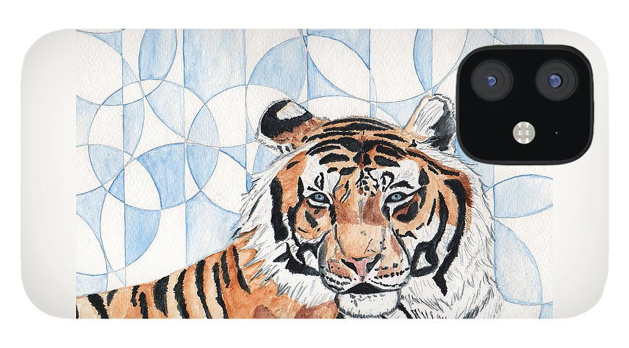 Tiger IPhone 12 Case featuring the painting Royal Mysticism by Crystal Hubbard