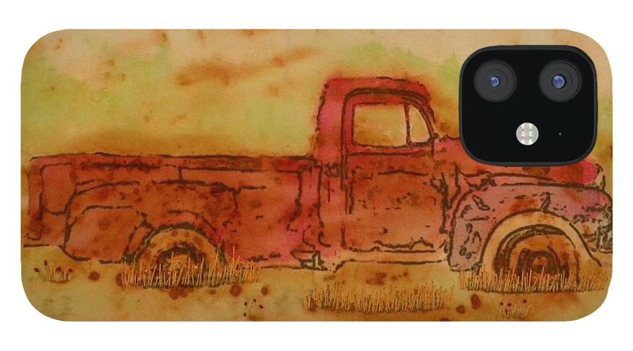 Rust IPhone 12 Case featuring the mixed media Rusty Truck by Jenny Williams